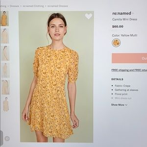 Re:named floral yellow dress; brand new